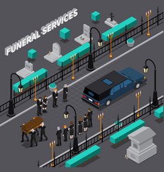 funeral services isometric composition vector image vector image