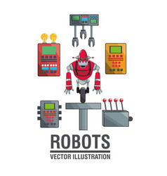 robots industry engineering technology poster vector image vector image