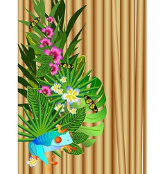 Tropical flowers and leaves over wood bright vector image