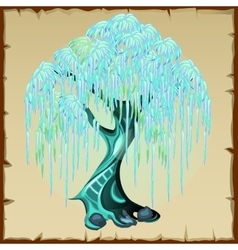 Blue fairy tree with lush foliage vector image vector image