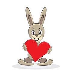 cartoon funny rabbit holds big red heart vector image