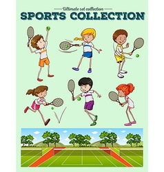 Tennis players and tennis courts vector image vector image