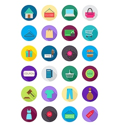 Color round shopping icons set vector image vector image