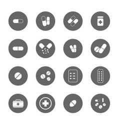 drug icons set vector image vector image