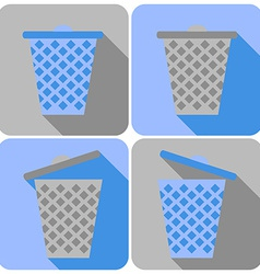 Flat Icons with Garbage Can Closed and Open vector image