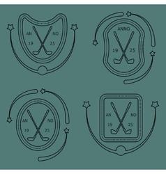 Golf sport items linear set vector image