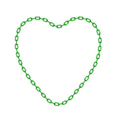 Green chain in shape of heart vector