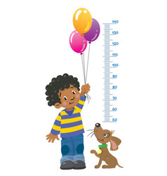 meter wall or height chart with boy and puppy vector image vector image