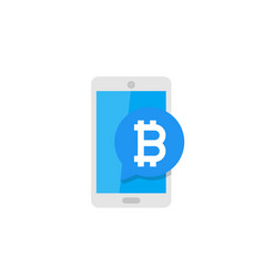 mobile payment with bitcoin vector image