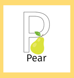 Pear and letter p coloring page vector
