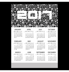 2017 simple business wall calendar with clock vector image vector image