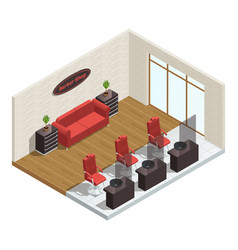 barber shop isometric interior vector image vector image