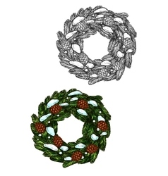 Christmas wreath sketch fir branches pine cones vector