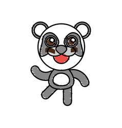 drawing panda animal character vector image