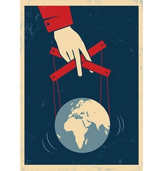 hand and earth poster red vector image