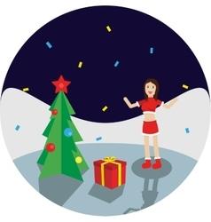 Happy Girl Near New Year Tree vector image vector image