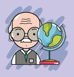 Old teacher with global map desk vector
