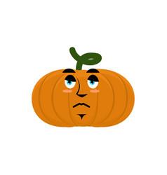 Pumpkin sad angry emoji halloween vegetable vector