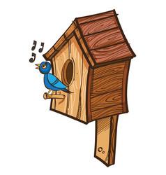 singing bird near birdhouse vector image