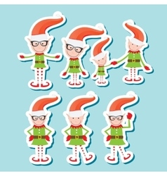 the playful Santa elves vector image