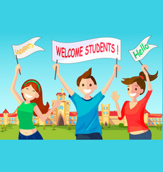 welcome new students to university vector image