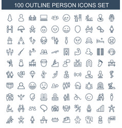 100 person icons vector image