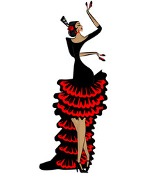 abstract flamenco woman in black red vector image