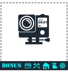 Action camera icon flat vector