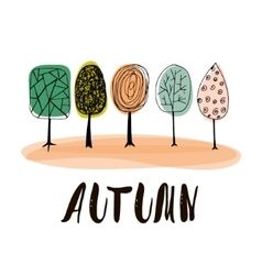 Autumn background with hand drawn trees for your vector image