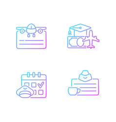 Aviation gradient linear icons set vector