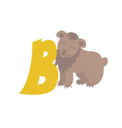 Bear animal alphabet symbol english letter b vector