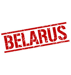 Belarus red square stamp vector