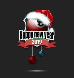 Billiard ball with santa hat and happy new year vector