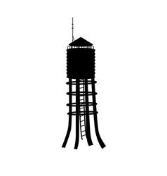 black silhouette water tower industrial scene vector image