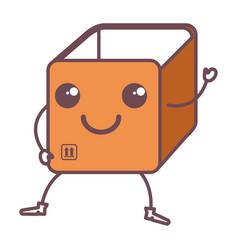 Box carton delivery service kawaii character vector