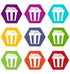 box of popcorn icon set color hexahedron vector image