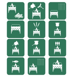 Brazier cooking icons set vector