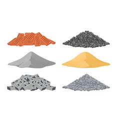 Building materials a pile bricks cement sand vector