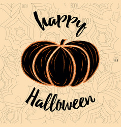 card happy halloween decorated pumpkin and vector image