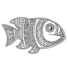 Card with fish Coloring book page for adults and vector image
