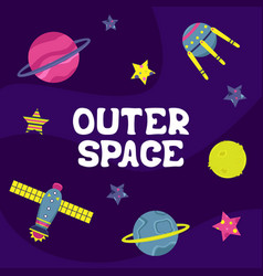 Cartoon flat with a spaceship outer space vector