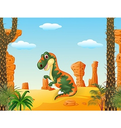 Cartoon funny tyrannosaurus vector image