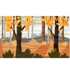 Cartoon style autumn landscape background with vector
