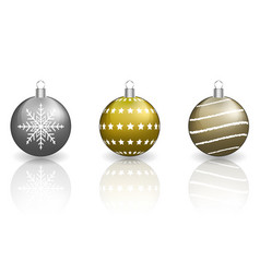 Christmas baubles on white background vector