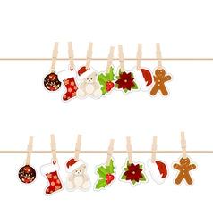 Christmas clothespins vector