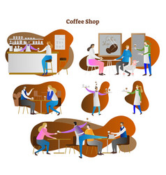 coffee shop scenes collection vector image