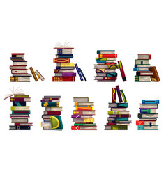 Collection stacks with colorful books vector