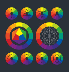 color wheel complementary schemes in vector image