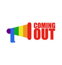 Coming out lgbt sign icon social network rainbow vector