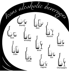 Conceptual icons of alcohol vector